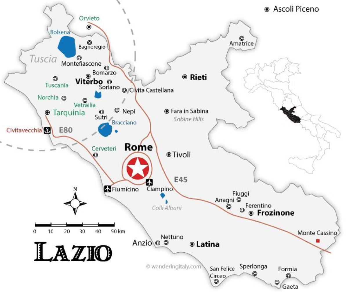 Rom Regionen Karta Rom Regioner Karta Lazio Italien